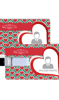 Streaming Hearts Valentine Day Credit Card Shaped Pen Drive