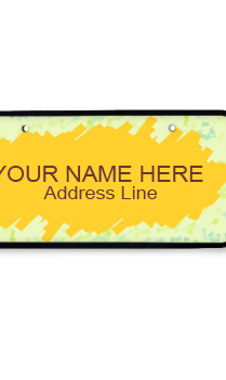 Yellow Splash Wooden Nameplate