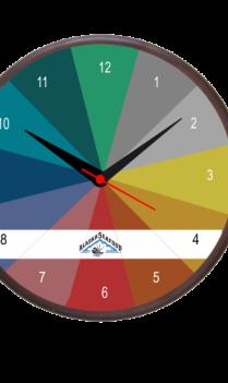 Rainbow Shades Wooden Clock