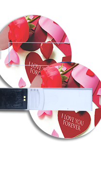 Love Theme Round Shape Pen Drive