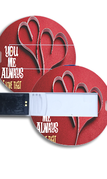 Red Heart  Round Shape Pen Drive
