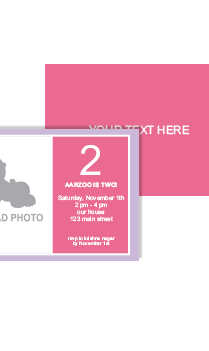 Baby Pink Second Birthday Invitation Card
