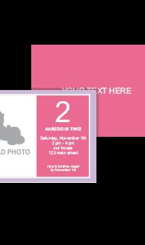 Baby Pink Second Birthday Invitation Card
