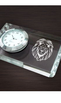 Animal Print Paperweight With Clock