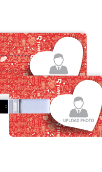 Red Doodle Valentine Day Credit Card Shaped Pen Drive