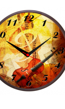 Faded Notes Wooden Wall Clock