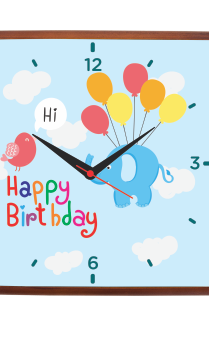 Birthday Rocks Square Wooden Wall Clock