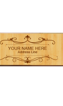 Classic Brown Pine Wood Name Plate