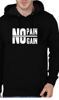No Pain No Gain Gym Bodybuilding Black Hoodie