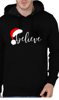 Merry Christmas Believe Black Hoodie