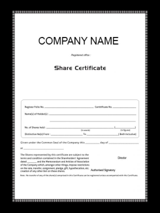 Customize Certificate of Share
