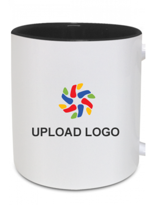 Upload Company Logo Inside Black Mug With Black Handle
