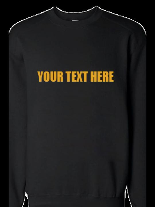 Custom Text Straight Yellow Print Black Sweatshirt