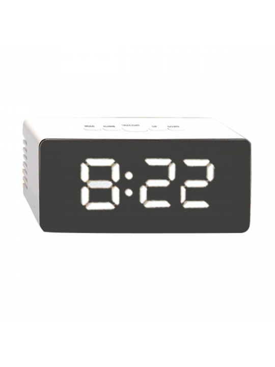 Mirror Finish Digital Clock (Rectangle) With Temperature (Dual power option) (USB cable included)-A118