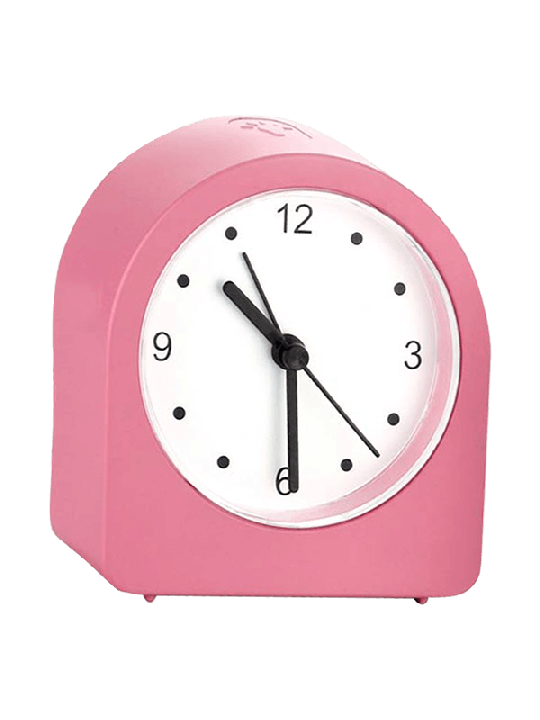 Night lamp clock with Alarm and Super Sweep movement Rechargeable Level backlight Pink-A125