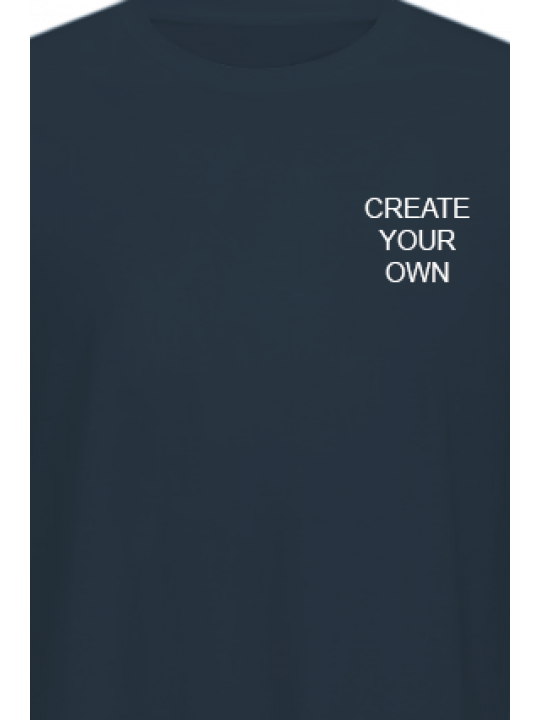 Create Your Own Logo Navy Blue Cotton Crew Neck T-Shirt