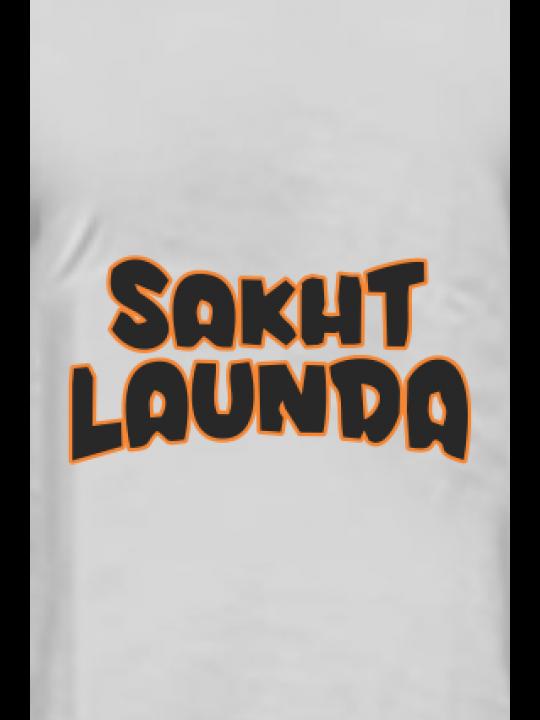 Sakht Launda Half Sleeves Light Gray Round Neck Cotton Effit T-Shirt
