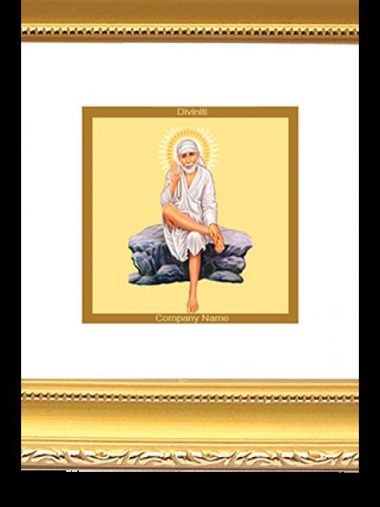 Premium Gold Plated Sai Baba Rock Pose Frame Dg - 1B