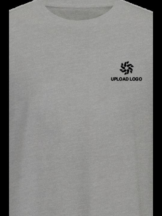 Upload Logo Gray Cotton Crew Neck T-Shirt