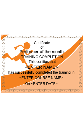 Promotional Comely Fitness Industry Certificate