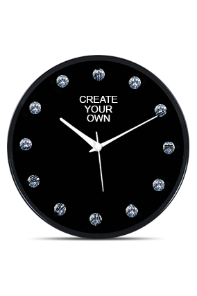 Black Frame Wall Clock With Artificial Diamonds PRS-NT-11 Business