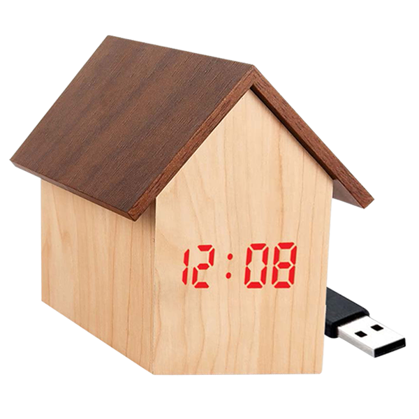 Hut Shape wooden LED Clock with Temperature and Sound Sensor Dual Power (Battery  USB)-A121