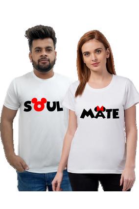 Matching Pair of Soul Mate Black Cotton Half Sleeve Couple T-Shirt
