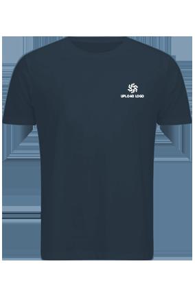Upload Logo Navy Blue Cotton Crew Neck T-Shirt
