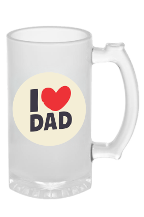 Customized Dad Love Forever Frosted Beer Mug