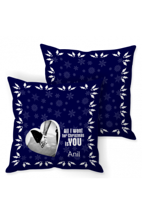 Xmas Love Story Blue Cushion Cover
