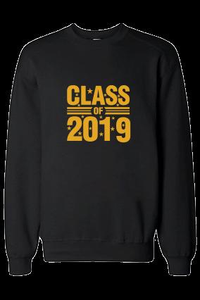 Class 2019 Yellow  Print Black Sweatshirt