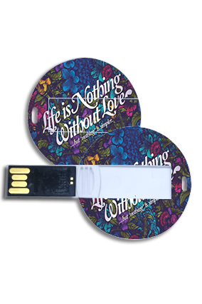 Blue Printed Theme Round Shape Pen Drive