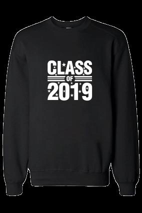 Class 2019 White Print Black Sweatshirt