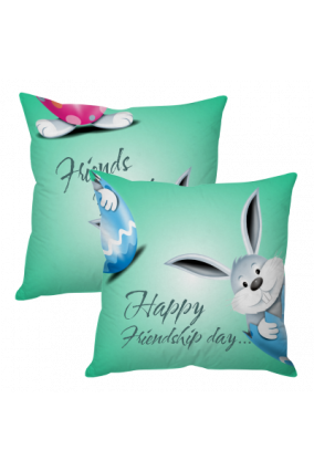 Friendship Day Bunny Cushion Cover