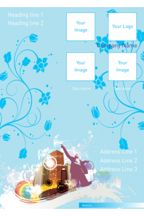 Blue Floral  Music Industry Poster