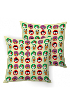 Yuletide Spirit Yellow Xmas Cushion Cover