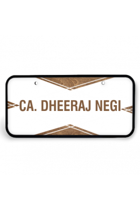 Elegant White Wooden Name Plate