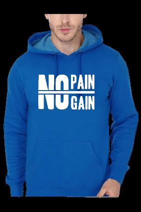 No Pain No Gain Gym Bodybuilding Blue Hoodie
