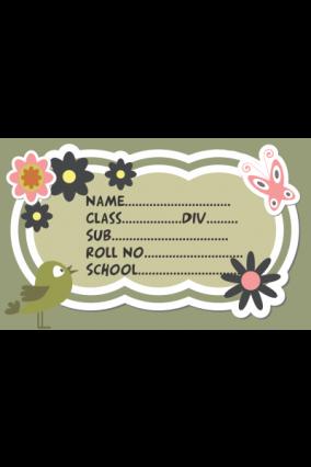 Set of 25 Pcs Kids Floral School Label