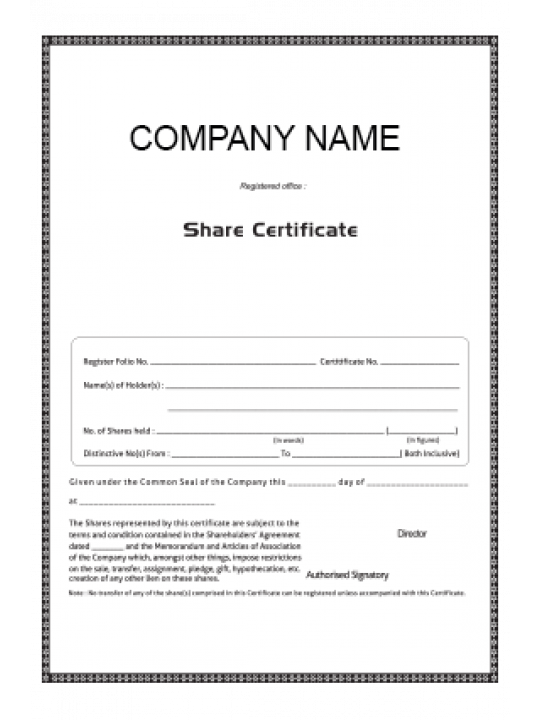 Customize Certificate of Share