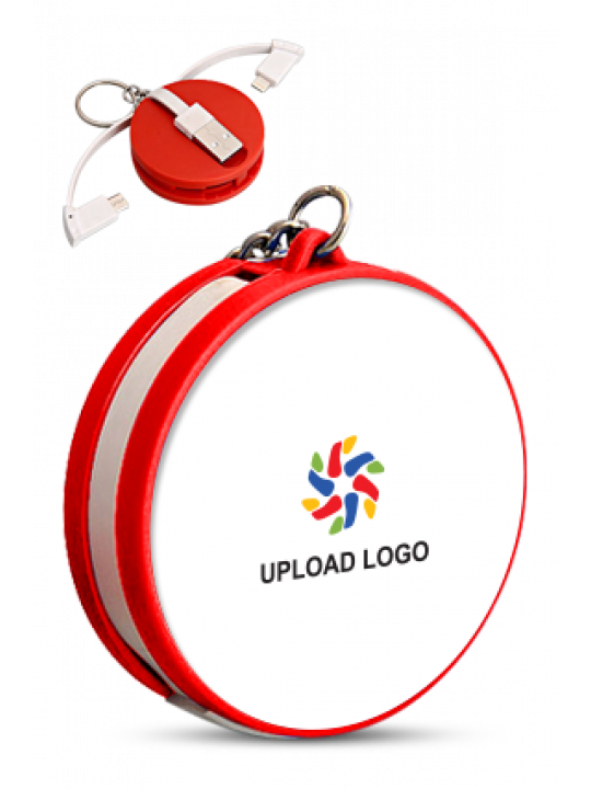 Upload Logo Keychain with Data Cable