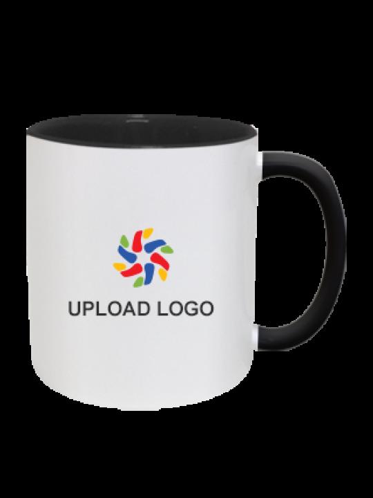 Upload Company Logo Inside Black Mug With Black Handle
