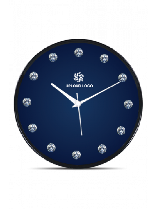 Blue Black Frame Clock With Artificial Diamonds