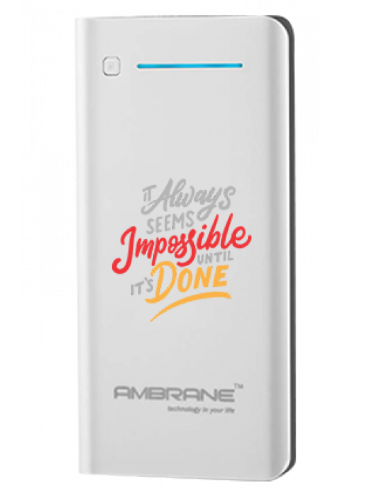 Impossible Done Customized 20800mAh Ambrane Power Bank White