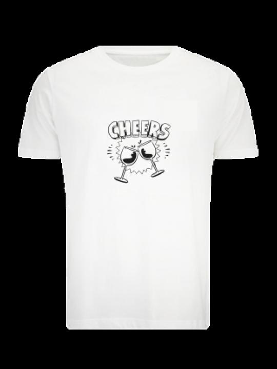 Cheers White Cotton T-Shirt