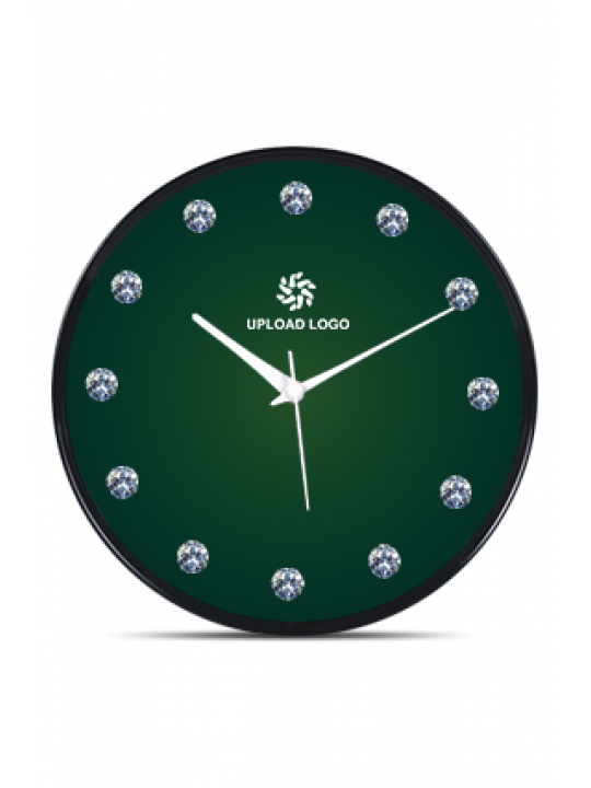 Green Black Frame Clock With Artificial Diamonds