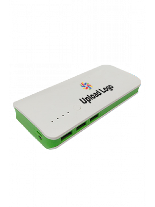 Premium Upload Logo 11000mAh Power Bank White & Green