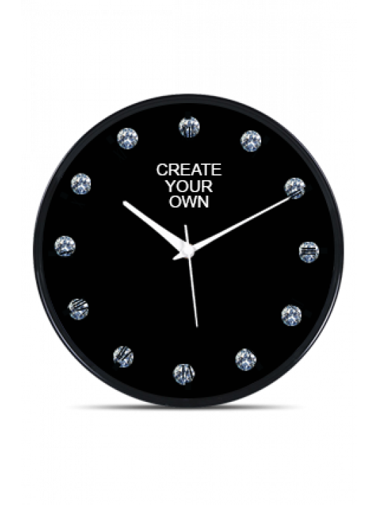 Create Your Own Black Frame Wall Clock With Artificial Diamonds