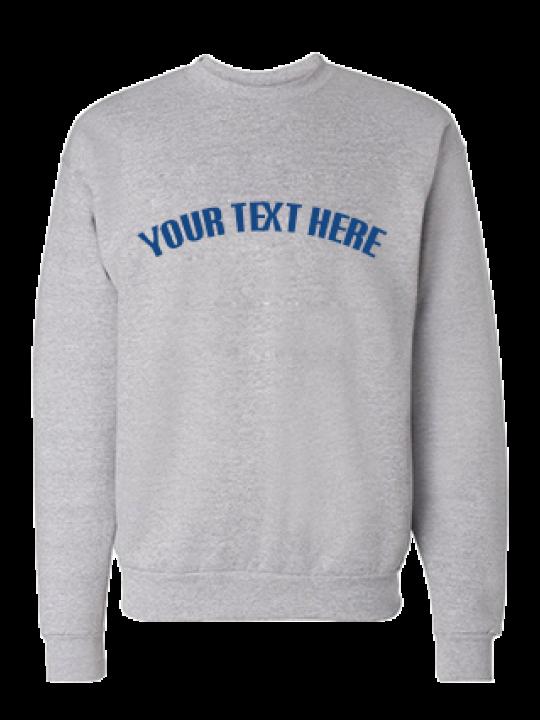Promotional Custom Text Curve Blue Print Gray Sweatshirt