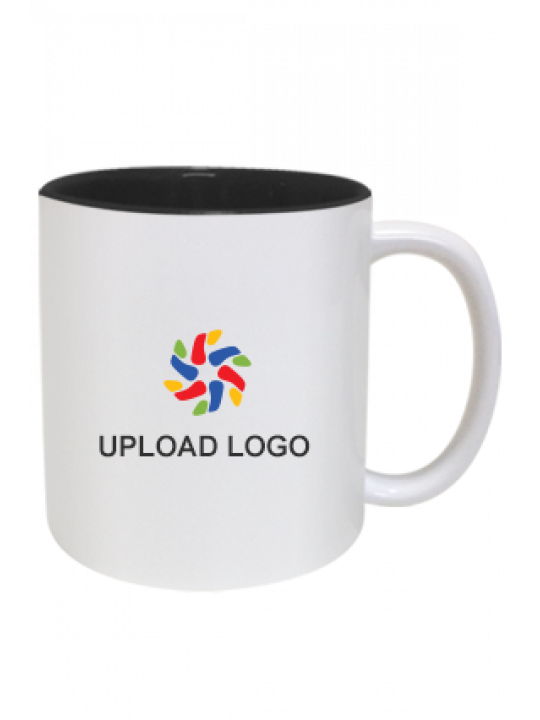 Upload Company Logo Inside Black Mug